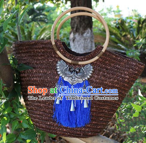 Traditional Handmade Chinese National Straw Plaited Article Bags Miao Nationality Sliver Handbag