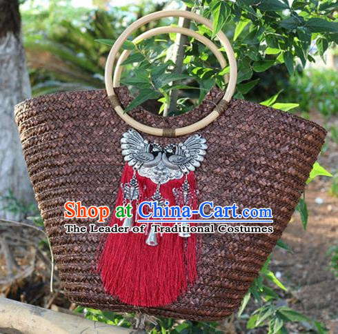 Traditional Handmade Chinese National Straw Plaited Article Bags Miao Nationality Sliver Red Tassel Handbag