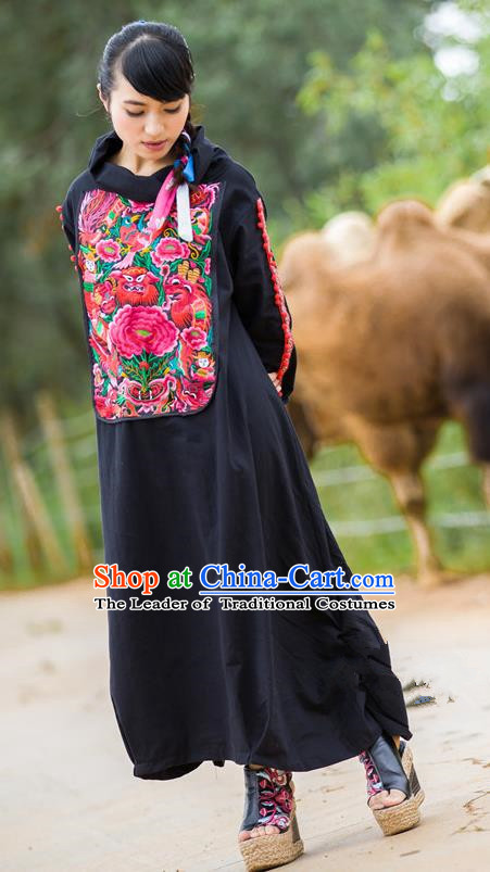 Traditional Chinese National Costume Linen Long Robe, Elegant Hanfu Embroidered Peony Tang Suit Dress for Women