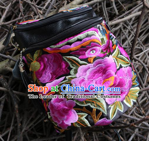 Traditional Handmade Chinese National Waist Bag Miao Nationality Embroidery Pink Flowers Leather Pocket for Women