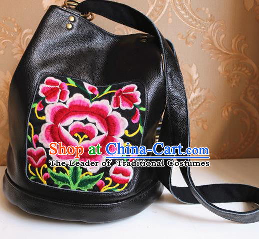 Traditional Handmade Chinese National Shoulder Bag Miao Nationality Embroidery Flowers Leather Bags for Women