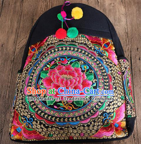 Traditional Handmade Chinese National Shoulders Bag Miao Nationality Embroidery Flowers Backpack Bags for Women