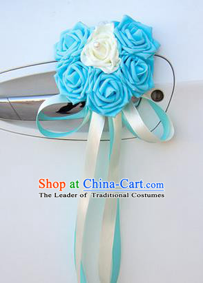 Top Grade Wedding Accessories Decoration, China Style Wedding Car Ornament Six Flowers Bride Blue Rose Ribbon Garlands