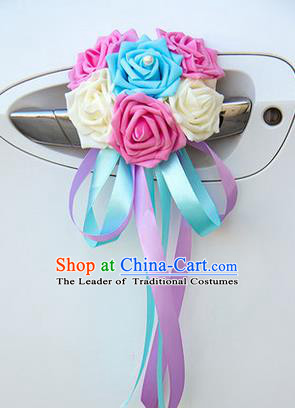 Top Grade Wedding Accessories Decoration, China Style Wedding Car Ornament Six Flowers Bride Pink White and Blue Rose Ribbon Garlands