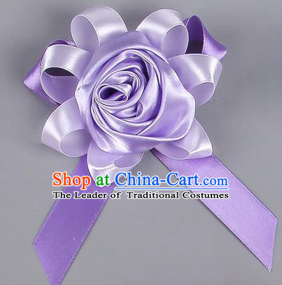 Top Grade Wedding Accessories Decoration Corsage, China Style Wedding Car Ornament Rose Flowers Bride Bridegroom Lilac Ribbon Brooch