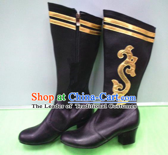 Traditional Chinese Minority Mongol Nationality Dance Black Leather Shoes, Ethnic Minorities Mongolian Boots for Women