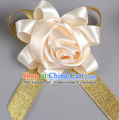 Top Grade Wedding Accessories Decoration Corsage, China Style Wedding Ornament Champagne Rose Flowers Bride Bridegroom Ribbon Brooch