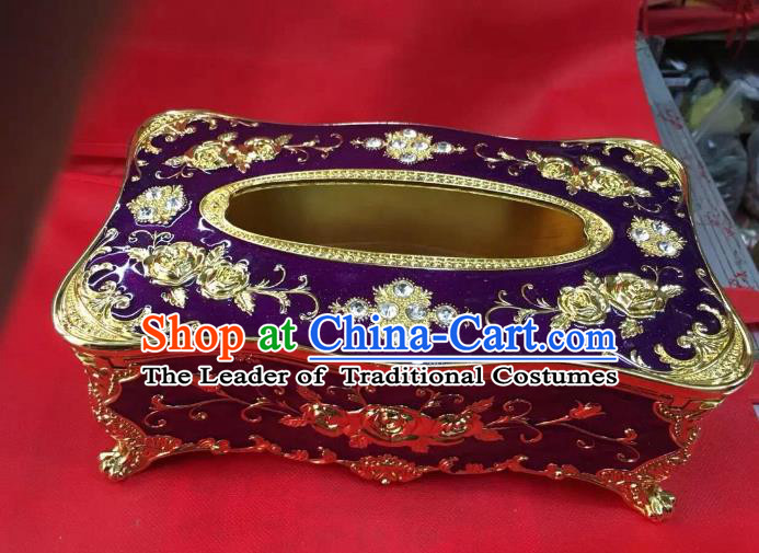 Traditional Handmade Chinese Mongol Nationality Crafts Purple Tissue Box, China Mongolian Minority Nationality Cloisonne Gilded Paper Holder