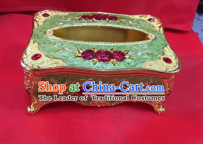 Traditional Handmade Chinese Mongol Nationality Crafts Green Tissue Box, China Mongolian Minority Nationality Cloisonne Paper Holder
