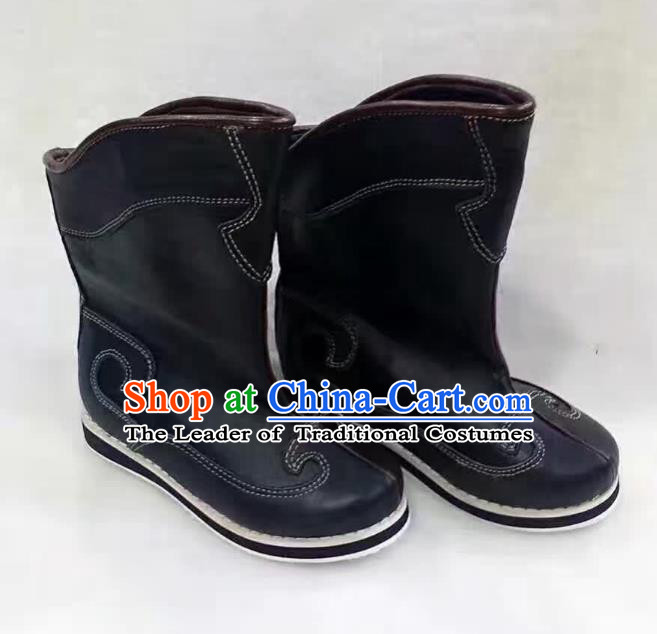 Traditional Chinese Minority Mongol Nationality Dance Black Shoes, Ethnic Minorities Mongolian Boots for Kids