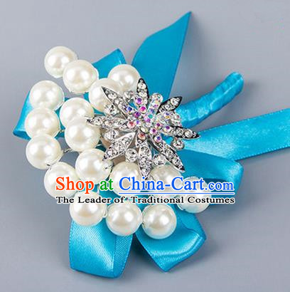 Top Grade Wedding Accessories Decoration Pearl Corsage, China Style Wedding Ornament Champagne Bride Bridegroom Blue Ribbon Crystal Brooch