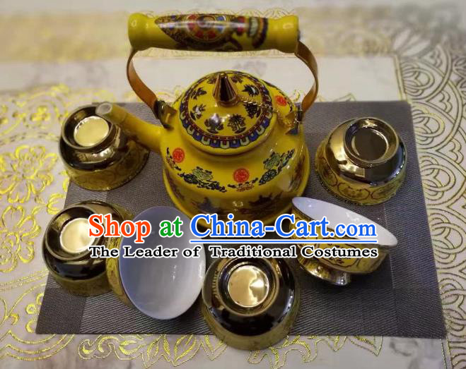 Traditional Handmade Chinese Mongol Nationality Crafts Tea Set, China Mongolian Minority Nationality Teaware Teapot and Teacup