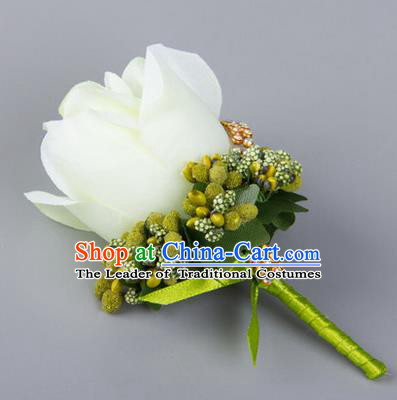 Top Grade Wedding Accessories Decoration Flower Corsage, China Style Wedding Ornament Champagne Bridegroom White Rose Brooch