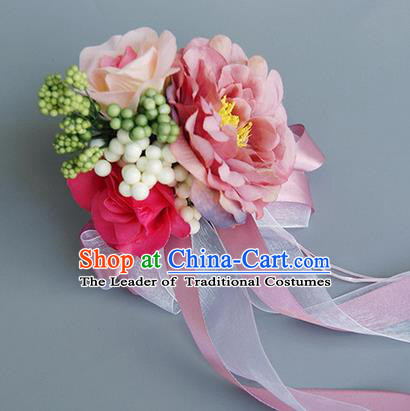 Top Grade Wedding Accessories Decoration, China Style Wedding Car Ornament Pink Flowers Bride Silk Ribbon Garlands