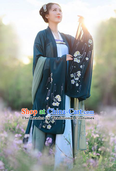 Traditional Ancient Chinese Costume Song Dynasty Young Lady Embroidery Wide Sleeve Cardigan, Elegant Hanfu Clothing Chinese Palace Princess Unlined Upper Garment Costume for Women
