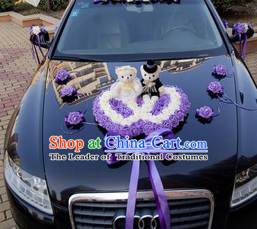 Top Grade Wedding Accessories Decoration, China Style Wedding Car Ornament Purple Flowers Heart-shaped Plate