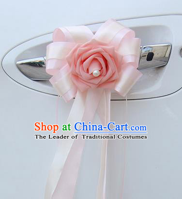 Top Grade Wedding Accessories Decoration, China Style Wedding Car Bowknot Pink Flowers Bride Long Ribbon Garlands Ornaments