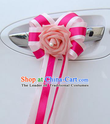 Top Grade Wedding Accessories Decoration, China Style Wedding Car Bowknot Pink Flowers Bride Rosy Long Ribbon Garlands Ornaments