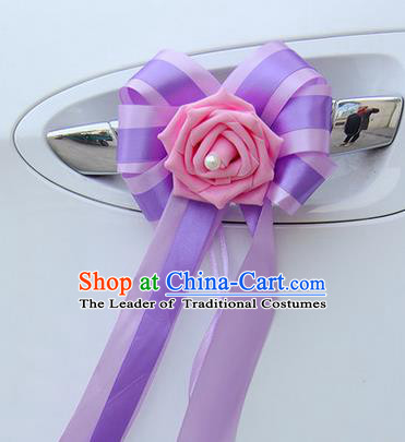Top Grade Wedding Accessories Decoration, China Style Wedding Car Bowknot Pink Flowers Bride Purple Long Ribbon Garlands Ornaments