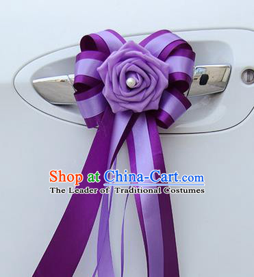 Top Grade Wedding Accessories Decoration, China Style Wedding Car Bowknot Flowers Bride Purple Long Ribbon Garlands Ornaments