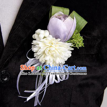 Top Grade Classical Wedding Lilac Silk Tulipa Flowers,Groom Emulational Corsage Groomsman Brooch Flowers for Men
