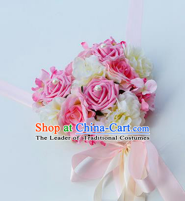 Top Grade Wedding Accessories Decoration, China Style Wedding Car Bowknot Pink Rose Flowers Ribbon Garlands Ornaments