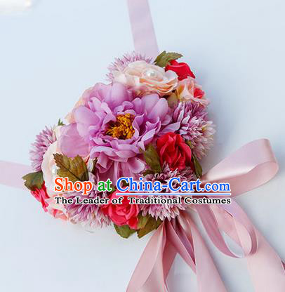 Top Grade Wedding Accessories Decoration, China Style Wedding Car Bowknot Colorful Rose Flowers Ribbon Garlands Ornaments
