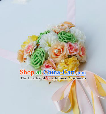 Top Grade Wedding Accessories Decoration, China Style Wedding Car Bowknot Rose Flowers Pink Ribbon Garlands Ornaments