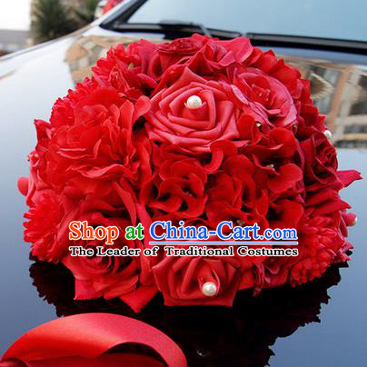 Top Grade Wedding Accessories Red Ball-flower Decoration, China Style Wedding Car Ornament Ribbon Flowers