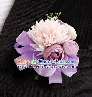 Top Grade Classical Wedding Lilac Ribbon Silk Flowers,Groom Emulational Corsage Groomsman Brooch Flowers for Men