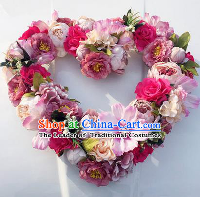 Top Grade Wedding Accessories Heart-shaped Decoration, China Style Wedding Car Ornament Flowers Floats
