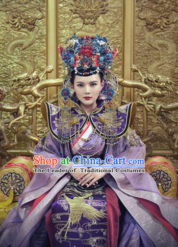 Traditional Ancient Chinese Palace Empress Costume and Headpiece Complete Set, Chinese Ming Dynasty Queen Dress Clothing for Women