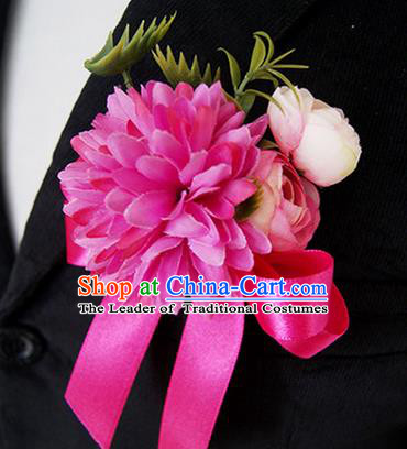 Top Grade Classical Wedding Silk Flowers,Groom Emulational Corsage Groomsman Rosy Ribbon Brooch Flowers for Men