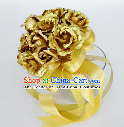 Top Grade Classical Wedding Golden Rose Flower Brooch, Bride Emulational Corsage Bridesmaid Brooch Flowers for Women