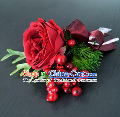 Top Grade Classical Wedding Red Rose Corsage Brooch, Bride Emulational Corsage Bridemaid Brooch Flowers for Women