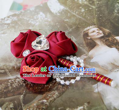 Top Grade Classical Wedding Wine Red Ribbon Flowers Brooch,Groom Emulational Corsage Groomsman Crystal Brooch Flowers for Men