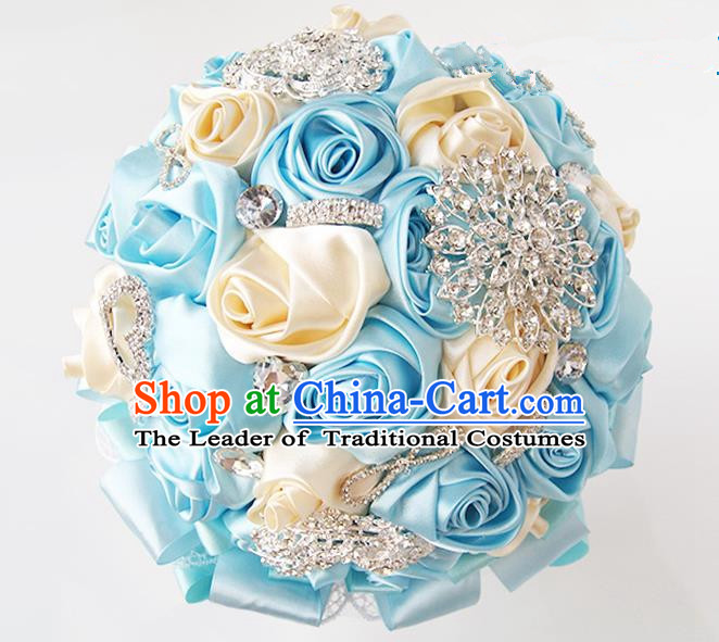 Top Grade Classical Wedding Blue Ribbon Corsage Brooch, Bride Emulational Corsage Bridemaid Brooch Flowers for Women