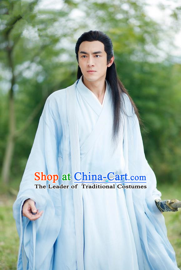 Traditional Ancient Chinese Southern and Northern Dynasties Nobility Childe Costume and Headpiece Complete Set, Chinese North Wei Dynasty Prince Robe Clothing