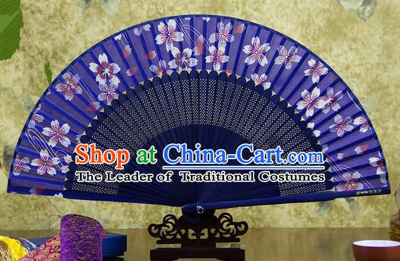 Traditional Chinese Crafts Purple Folding Fan, China Sensu Printing Oriental Cherry Silk Fan Hanfu Fans for Women