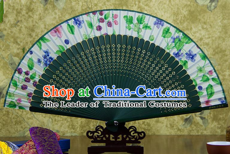 Traditional Chinese Handmade Crafts Green Folding Fan, China Sensu Ink Painting Flowers Silk Fan Hanfu Fans for Women