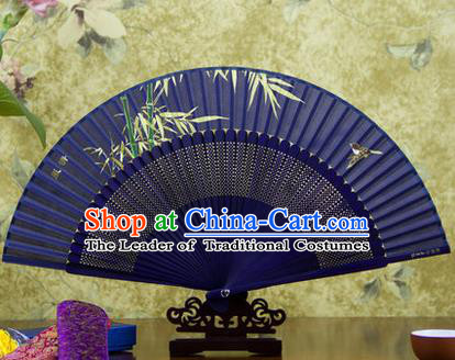 Traditional Chinese Handmade Crafts Folding Fan, China Sensu Painting Bamboo Silk Fan Hanfu Fans for Women