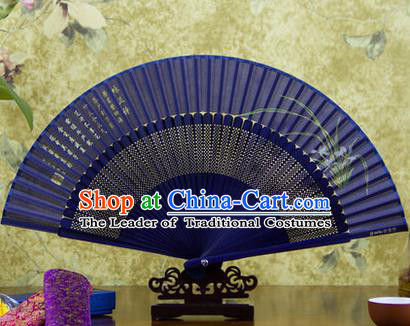 Traditional Chinese Handmade Crafts Folding Fan, China Sensu Painting Orchid Silk Fan Hanfu Fans for Women