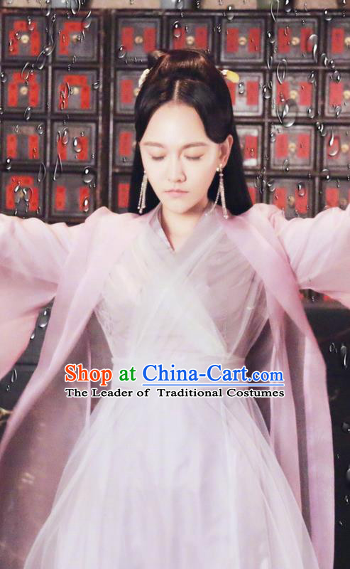 Traditional Ancient Chinese Song Dynasty Imperial Princess Clothing, Chinese Ancient Swordswoman Peri Hanfu Costume and Headpiece Complete Set