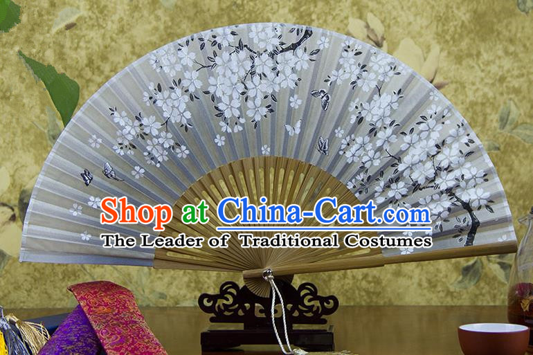 Traditional Chinese Handmade Crafts Hand Painting Butterfly Flowers Folding Fan, China Classical Oriental Cherry Sensu Silk Fan Hanfu Fans for Women