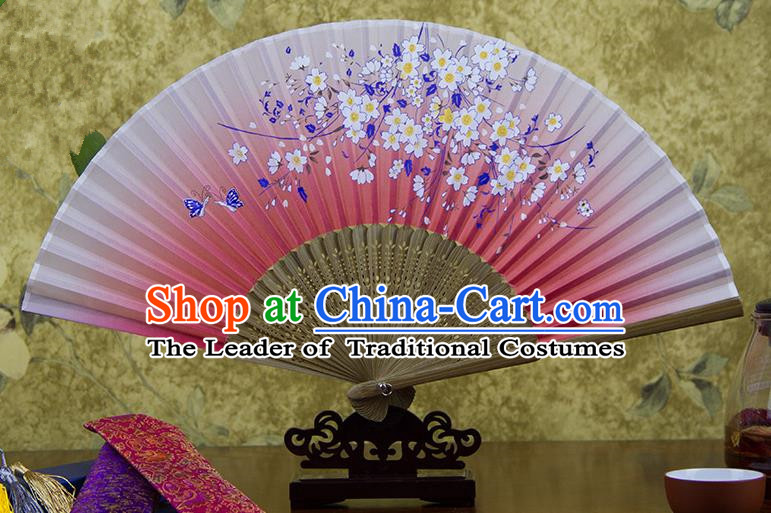 Traditional Chinese Handmade Crafts Hand Painting Flowers Folding Fan, China Classical Oriental Cherry Sensu Pink Silk Fan Hanfu Fans for Women