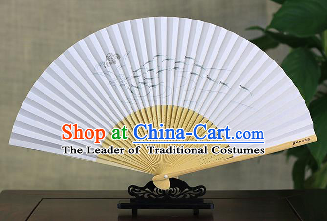Traditional Chinese Handmade Crafts Ink Painting Fishes Folding Fan, China Classical Art Paper Sensu Xuan Paper Fan Hanfu Fans for Men