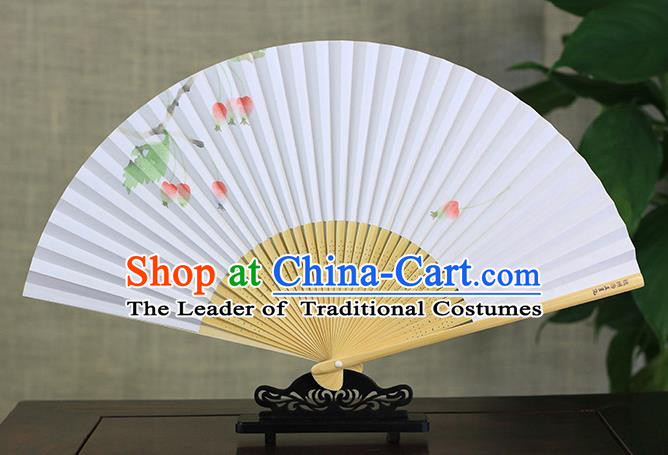 Traditional Chinese Handmade Crafts Ink Painting Folding Fan, China Classical Art Paper Sensu Xuan Paper Fan Hanfu Fans for Men