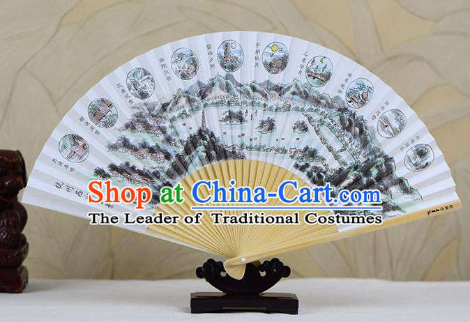 Traditional Chinese Handmade Crafts Ink Painting West Lake Scenery Folding Fan, China Classical Art Paper Sensu Xuan Paper Fan Hanfu Fans for Men