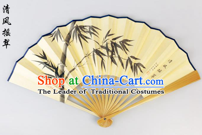 Traditional Chinese Handmade Crafts Pure Silk Folding Fan, China Classical Sensu Ink Painting Bamboo Fan Hanfu Fans for Men