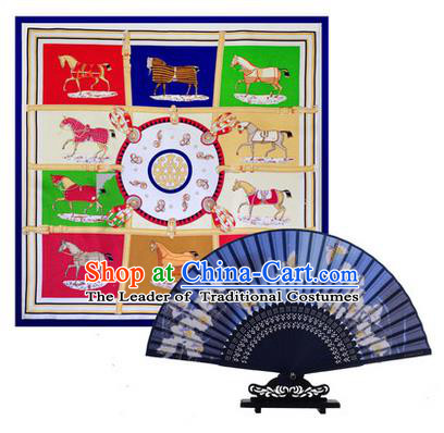 Traditional Chinese Handmade Crafts Silk Folding Fan and Scarves, China Classical Blue Sensu Peach Blossom Fan Hanfu Fans for Women